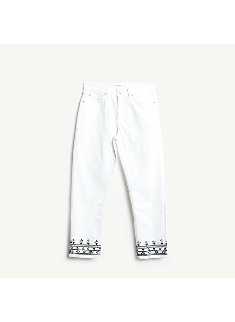 9893c5c9613b3 Yargıcı Kadın Yan Dikiş Detaylı 5 Cep Pantolon Kırık Beyaz | Morhipo |  23293655